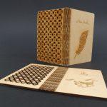 carte postale en placage bois