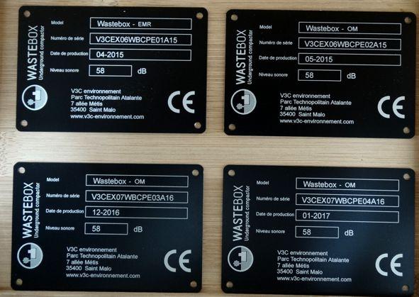 plaque d'identification industrielle